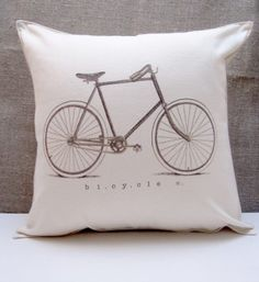 old drawing of a bicycle digitally printed on hemp