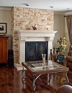 Brick and wrought iron fireplace? Stone Fireplace Surround, Stone Mantel, Kota Kinabalu, Foyers, Foyer Design, House Design, Dyi, Home Depot, Rock Fireplaces
