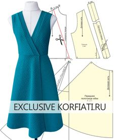 Patterns of knitted dresses with a smell from Anastasia Korfiati - Dress pattern with a smell – a model on a mannequin Informations About Выкройки трико - Sewing Clothes, Diy Clothes, Clothes For Women, Skirt Patterns Sewing, Clothing Patterns, Pattern Dress, Diy Crafts Dress, Casual Outfits, Fashion Outfits