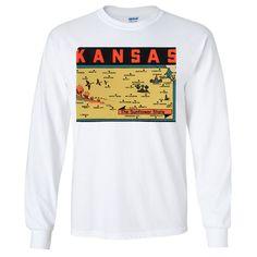 Vintage State Sticker Kansas Long Sleeve Shirt