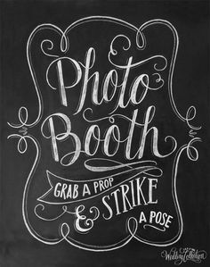 "A hand lettered, vintage-style ""Photo Booth"" print to display at your shabby chic, rustic wedding! Artwork is made to coordinate with the other pieces in the Lily & Val Wedding Collection. ♥ Our fine"