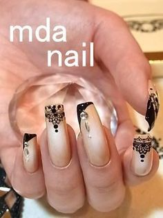 Nude & Black Patterned Mani...
