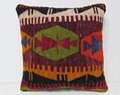 "ethnic throw pillow 18"" antique throw pillow floor cushion cover western throw pillow floor pillow tapestry cushion kelim rug orange 27961"