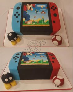 Nintendo Switch with edible bomb and mushroom.bomb is also a candle Nintendo Switch with edible bomb and mushroom…bomb is also a candle Mario Birthday Cake, Super Mario Birthday, Novelty Birthday Cakes, 6th Birthday Parties, 9th Birthday, Birthday Ideas, Nintendo Party, Nintendo Cake, Super Mario Party