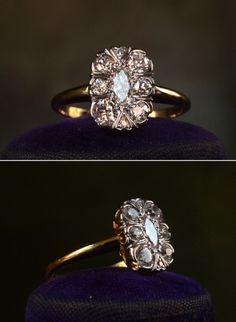 European and Marquise Cut Diamond Antique Engagement Ring Antique Rings, Vintage Rings, Antique Jewelry, Vintage Jewelry, Antique Bracelets, Vintage Diamond, Vintage Style, Gold Bracelets, Vintage Ideas