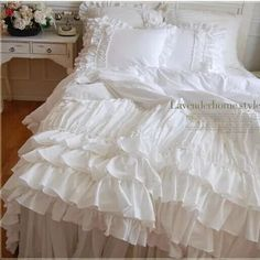 Korean bedding set custom cotton Beautiful wedding white layer cake lace quilted duvet cover princess bow bedskirt home textile Rose Duvet Cover, White Duvet Covers, Luxury Duvet Covers, Duvet Cover Sets, Luxury Bedding, Modern Bedding, White Ruffle Bedding, Ruffle Curtains, Handmade Duvet Covers