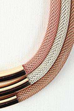 Mesh Tubes Collar Necklace