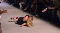 A real fallen Angel: Victoria's Secret model Candice Swanepoel lands on her hands as she takes nasty tumble on Givenchy NYFW runway.