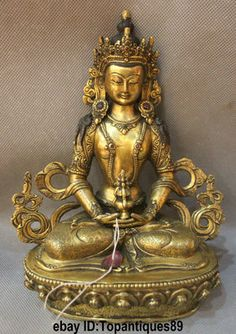 Old Tibet Buddhism Bronze 24K Gold Gilt Long Life Amitayus Goddess Buddha statue