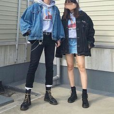 Korean fashion couple uploaded by mia on we heart it Grunge Outfits, Edgy Outfits, Korean Outfits, Edgy School Outfits, Korean Clothes, Mode Grunge, Hipster Grunge, Grunge Style, Indie Grunge Fashion
