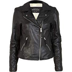 I just love this leather biker jacket - biker jackets - coats / jackets - women Look Rock, Ashley Benson, Winter Jackets Women, Coats For Women, Black Leather Biker Jacket, Brown Jacket, River Island Fashion, Girly, Motorcycle Jacket