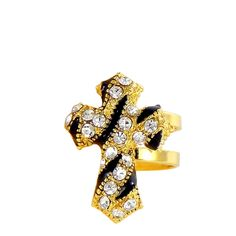 Brinco cartilagem dourado de cruz com strass. Veja este e outros brincos em >> http://lojamulher.com/bijuterias/brinco/