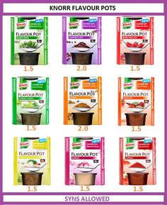 Knorr flavour pots syn values Asda Slimming World, Slimming World Syns List, Slimming World Syn Values, Slimming World Recipes Syn Free, Syn Free Food, Sliming World, Different Fruits And Vegetables, Fruit Smoothies, Food Lists