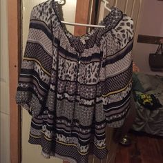 Sheer Blouse Black, grey, blue, yellow and 3 quarter length sleeves. Bought at Khol's. Tops Blouses