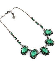 Green Gemstone Drop Silver Chain Necklace