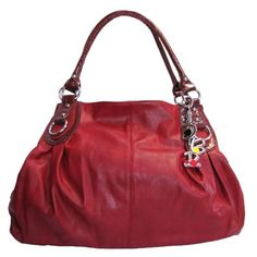 Large Charm Hobo Handbag (Deep Red) OMG Styles, To SEE or BUY just CLICK on AMAZON right HERE http://www.amazon.com/dp/B008NA0K3G/ref=cm_sw_r_pi_dp_DWqjtb18WQZET125