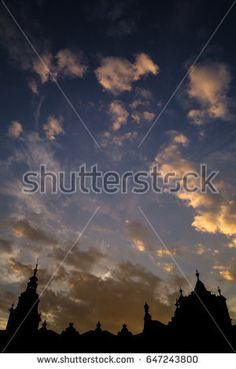 Main Square in Krakow, Poland, during sunset in vertical