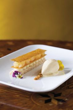 Hazelnut Dacquoise, Pear & Burnt Honey Ice Cream recipe by Melissa Chou, Aziza / April 2010 #plating #presentation
