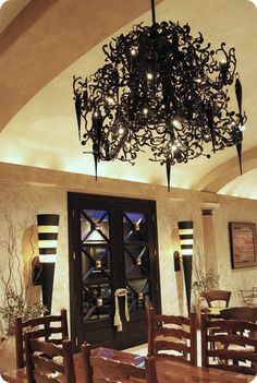 this black chandelier - room sorta reminds me of Beetlejuice! Black Chandelier, Chandelier Lamp, Chandeliers, Ceiling Lamps, Pendant Lamps, Pendant Lights, Gothic Interior, Interior And Exterior, Modern Interior