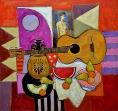 Jack Morrocco - Parlour Guitar and Greek Vase Cubist Art, Cubism, Still Life Artists, Clay Vase, Wine Art, Henri Matisse, Vases Decor, Painting Inspiration, Art History