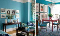 Resultado de imagem para usar verde tiffany na parede da sala