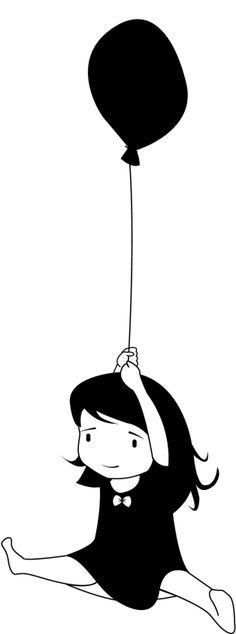 Appliqué petite fille  au ballon en flex thermocol