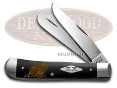 CASE XX Gold Turkey Black Delrin 1/500 Trapper Stainless Pocket Knife Knives
