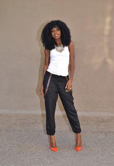 White Tank + Black Suspender Pants
