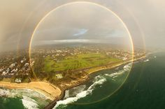 Full-circle rainbow over Cottesloe Beach, Western Australia.