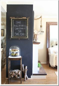 "chalk board end wall with an ""empty frame"" for ""art work"" or a inspriational quote or verse"