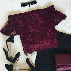 top off your #ootn with our 'Lace On Lace Wine Off Shoulder Blouse'