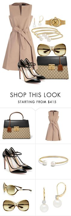 """""""Untitled #44"""" by iamchictrend on Polyvore featuring Gucci, Paule Ka, Salvatore Ferragamo, David Yurman, Tom Ford, Lord & Taylor and Rolex"""