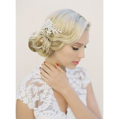 Gold Lace Bridal Hair Comb Wedding Headdress Lace and Pearl Head Piece... ($189) ❤ liked on Polyvore featuring accessories, hair accessories, decorative combs, silver, weddings, gold hair comb, beaded hair accessories, bride hair comb, beaded hair combs and bridal comb