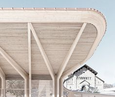 norman foster renovates the kulm eispavillon in st moritz Timber Architecture, Canopy Architecture, Contemporary Architecture, Architecture Details, Foster Architecture, Classical Architecture, Backyard Canopy, Garden Canopy, Canopy Outdoor