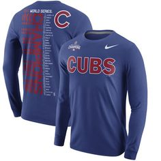 ea09213cb2f Men s Chicago Cubs Nike Royal 2016 World Series Champions Celebration  Roster Long Sleeve T-Shirt