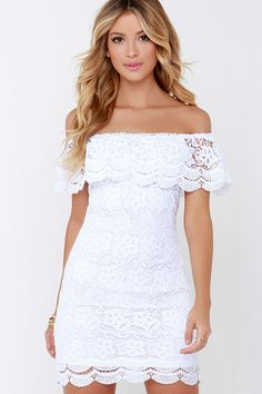 A dress that will fit right in in paradise has arrived and its name is the Islands in the Stream White Lace Off-the-Shoulder Dress! Floral lace creates an elastic, off-the-shoulder neckline, draping into a scalloped ruffle atop the bodice. Body skimming, sheath silhouette also ends in scalloped lace. Hidden zipper with clasp at back. Fully lined. Self: 100% Micro Fiber. Lining: 100% Polyester. Hand Wash Cold.