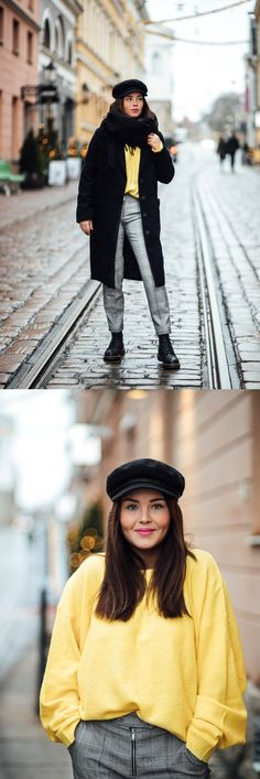 Sweater | NLY | Coat | NLY | Pants | Mango | Beret Cap | Brixton | Annika Ollila
