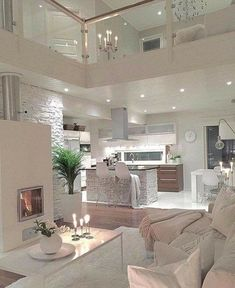Try To Decorating With Luxury White Living Room Design 01 - Home Decor Design Interior Design Living Room, Living Room Designs, Living Room Decor, Modern Interior, Modern Luxury, Kitchen Interior, Kitchen Decor, Minimalist Interior, Room Kitchen