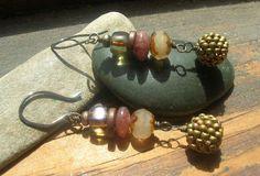 Autumn Amber waves of grain earrings beaded bead by kmaylward