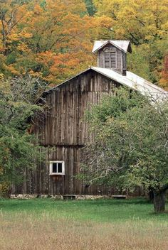 old barn with widow peak Country Barns, Old Barns, Country Life, Country Living, Old Abandoned Buildings, Old Buildings, Hay Loft, Barn Pictures, Take Me Home