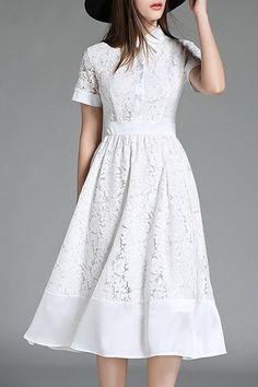 Elegant Women's Lapel Collar Short Sleeves Lace Midi Dress