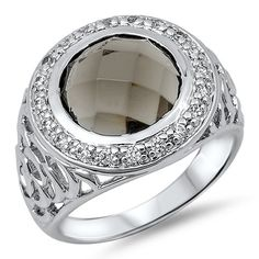925 Sterling Silver Round Faceted Chocolate Smokey Topaz Russian Ice Diamond CZ Filigree Band Halo Ladies Ring
