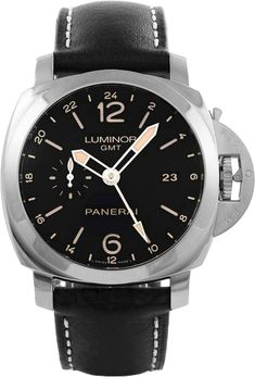 PAM00531 Panerai Luminor Steel GMT Mens Automatic Black Dial Black Leather Watch No Sales Tax Outside California Price Match Guarantee