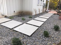 Poured concrete stepping stones with CorTen steel frame