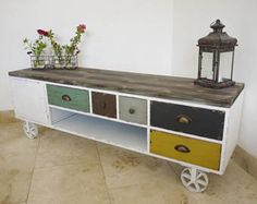 Industrial sideboard Vintage style Unit cabinet wood metal TV console unit coffee table rustic antique reclaimed drawers distressed tv stand