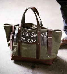 050494b3a4d3 WWII Canvas   Leather Carryall  WWII Canvas Duffel Bag  Created from  worn-in canvas salvaged from a WWII era US military duffel bags