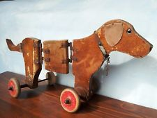 Antique vintage old wooden pull along children's dog toy hand-made naive