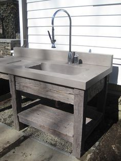 Reclaimed wood vanity base and concrete bathroom sink by Trueform concrete Reclaimed wood v Wood Vanity, Kitchen Design, Reclaimed Wood Vanity, Outdoor Kitchen, Outdoor Sinks, Countertops, Concrete Sink, Wood Countertops, Sink