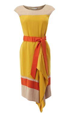 Karen Millen Colourful Draped Dress Yellow Multi ,fashion Karen Millen Multicolor Dresses outlet