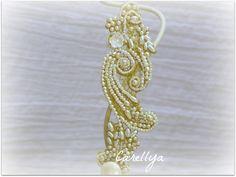 Vintage Gold Lace Beaded Cuff - Beaded Pearls Wedding Bracelet - Cuff Bracelet. , via Etsy.
